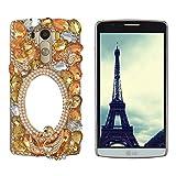 Spritech - Carcasa rígida para teléfono móvil, diseño en 3D con cristales de colores, hecho a mano, metal, yellow,orange, Samsung Galaxy S6 Edge Plus