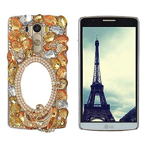 spritech (TM) Bling dur Cristal Transparent Coque, 3D FAIT MAIN Noir Motif fleur accessary Housse pour téléphone portable