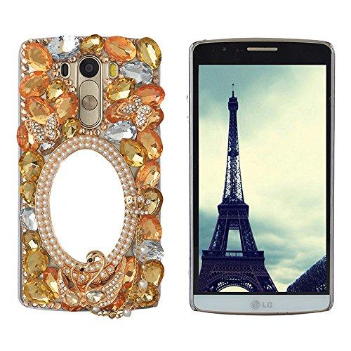 Spritech (TM Bling Hard Case Clear Tasche, 3D Handmade Blume Kristall Schwarz Zubehörs Muster Design Handy Cover, Metall, Yellow,orange, LG G Stylo -