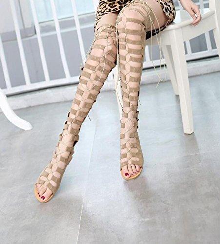 Gladiatoren Sandalen Scude Lace-Up Reißverschluss Flat Peep Toe Casual Feminine Tube High Stiefel EU Größe 34-43 apricot