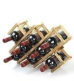 Ducomi–Botellero de madera plegable Vinoria, para vino, para enotecas, expositor elegante y fino, con carta de vinos