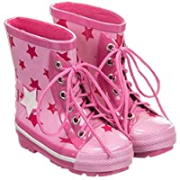 Girls Pink Star Wellington Boots - Size UK 5