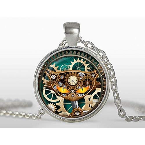 LIUSHUGUANG Grüne Augen Katze Glas Halskette mechanische Uhr runde glaskuppel anhänger halsketten Charme glockenbewegung halsketten schmuck n334,Silver