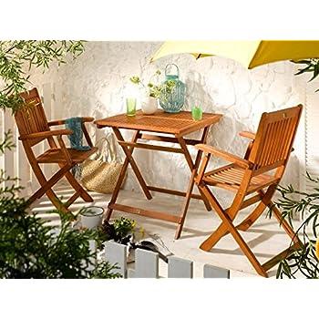 Gartenset Klapptisch Klappstuhl Gartenmöbel Balkon natur DIEGO Balkonset 3-tlg