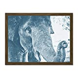 Chambon Elephant Close-up Trunk Blue Large Framed Art Print Poster Wall Decor 18x24 inch