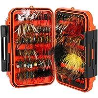 Magreel señuelos de pesca 64 piezas/120 piezas kit de señuelos de pesca con caja de moscas húmedas secas para trucha de bajo y salmón, ., 120 piezas