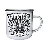 Skandinavischer Wikingerschädel Asgard Retro, Zinn, Emaille 10oz/280ml Becher Tasse w515e