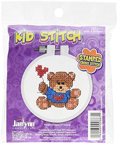 Unbekannt Janlynn Kid Stich Bär aus Baumwollmischgewebe und Ballon Prägung Kreuz kit-3-inch rund - 3 Bar Kit