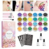 Glitzer Tattoo Set - Temporäre Tattoo-Kit, Glitzer Tattoo Make-Up für Kinder, Teenager und...