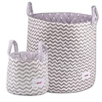 Minene Large & Small Storage Basket Set Grey Chevron - storage baskets, round storage baskets, organisers, large fabric storage basket - great for toy storage, kids storage and as a laundry hamper Size 45x40cm and 18x22cm