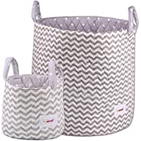 Minene Large & Small Storage Basket Set Grey Chevron - storage baskets, round storage baskets, organisers, large fabric storage basket - great for toy storage, kids storage and as a laundry hamper Size 45x40cm and 18x22cm preiswert