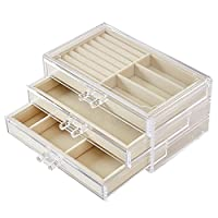 DCCN Acrylic Jewellery Storage Box with 3 Drawers-Clear Transparent