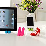 DaoRier Multifunctional Silicone Mobile Phone Holder in High-Heeled Shoes Design, Blue - Holder for Samsung, iPhone etc, 1 Pair