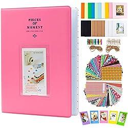 Amimy Album Photo Accessoires Bundles Set pour Fujifilm Instax Mini 7s 8 8+ 9 25 50 70 90, Polaroid PIC-Snap 300, Kodak Mini 3 Pouces Film avec Cadre et Autocollants (128 Poches, Flamingo Rose)