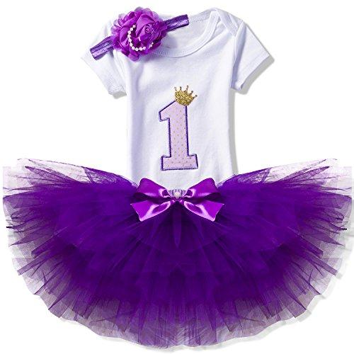 NNJXD NNJXD Mädchen Newborn 1. Geburtstag 3 Stück Outfits Strampler + Tutu Kleid + Stirnband Größe (1) 1 Jahr Lila