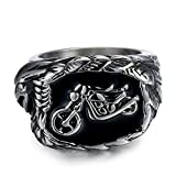 Uloveido Herren Tribal Edelstahl Biker Adler Hawk Band Ring, Herren Biker Hawk Super Fly Ring MT001-Silber-20.6