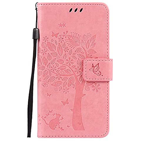 Sony Xperia X Case Leather, Ecoway Cat and tree Patterned Embossing PU Leather Stand Function Protective Cases Covers with Card Slot Holder Wallet Book Design Detachable Hand Strap for Sony Xperia X - Pink