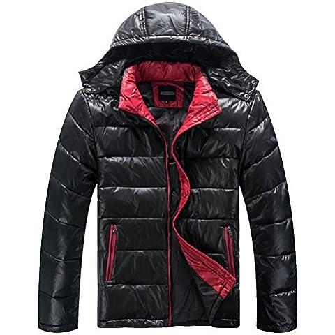 XYXY Maschile addensare giù giacca cappuccio cappotto invernale nero . xxxxxxl . black