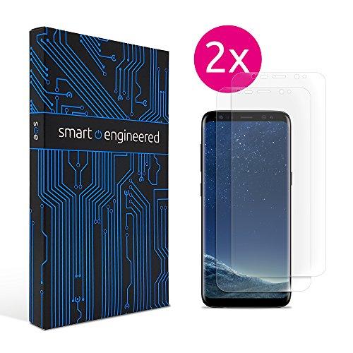 smart engineered Galaxy S8 Schutzfolie [2 Stück] Panzerfolie volle Abdeckung [HD-Klar] einfache blasenfreie Aufbringung [Displayschutzfolie transparent] KEIN Glas Schutzglas sondern s8 Folie (2 Glas Folie)