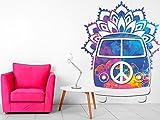 Vinilo decorativo pared Espiritual Furgoneta Hippie FLores | Varias Medidas 80x100cm |...