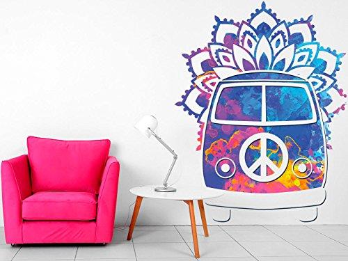 Vinilo decorativo pared Espiritual Furgoneta Hippie FLores | Varias Me