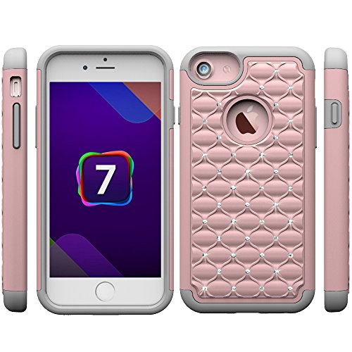 iPhone 7 Silikon Hülle,iPhone 7 Glitzer Hülle,iPhone 7 Transparent Hülle,iPhone 7 Crystal Clear TPU Case Hülle Klare Cristall Silikon Gel Schutzhülle Etui für iPhone 7 4.7 Zoll,EMAXELERS iPhone 7 (4.7 D Bling Case 7