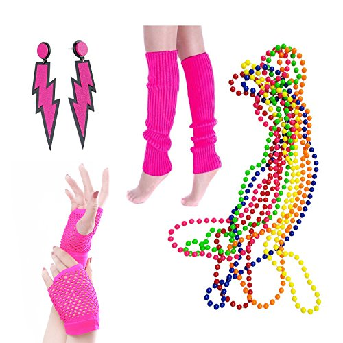 BigLion 80s Fête Accessoires vestimentaires Années 80 Jambières Boucles d'oreilles Gants Fishnet Plastique Néon Multicolore Collier en Perles Assortis Fluo Ensemble de 4 (A1)