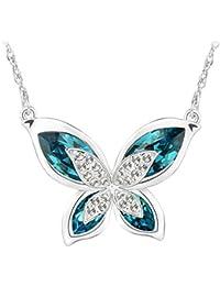 Le Premium® 'Le Papillon' Collier pendentif en forme de papillon en forme de coeur de SWAROVSKI - Indicolite Bleu+Bleu aquamarine