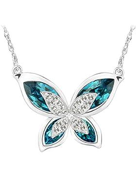 Le Premium® Morpho Schmetterling mit Kristallen von Swarovski-Indolitblau+Aquamarinblau Muttertagsgeschenk
