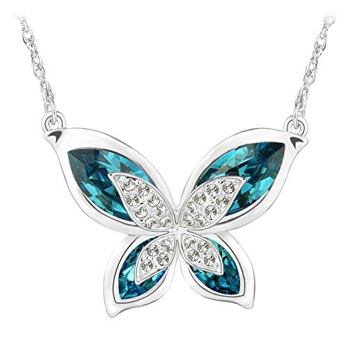 Le premium® morpho farfalla collana pendente realizzata con cristalli swarovski - blu indaco
