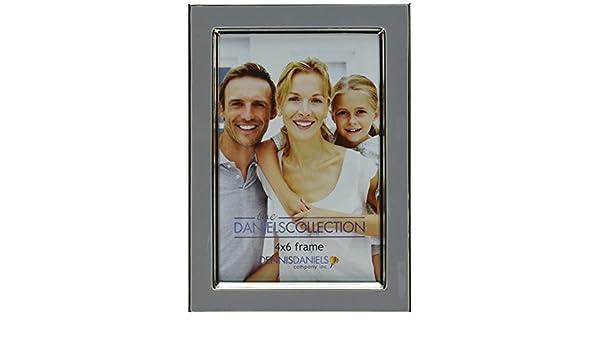 Slate Grey Dennis Daniels Designs E0204SG 4 x 6 Inches Dennis Daniels Enamel Frame with Silver Plate