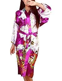 Dolamen Mujer Vestido Kimono Satén, Camisón para mujer, Geisha & Flores Robe Albornoz Dama de honor Ropa de dormir Pijama, Estilo largo & 2017 Nuevo Estilo