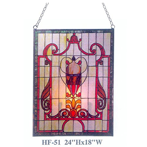 Gweat HF-51 Tiffany Stil Glasmalerei Gothic Red Thema Rechteck Fenster hängende Glasscheibe Sun Catcher, 24