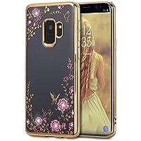 Funda Samsung A8 2018 / A530 Carcasa TPU Gel Silicona Diamante Flores borde Metalizado Samsung Galaxy A8 2018 / A530 (Dorado)