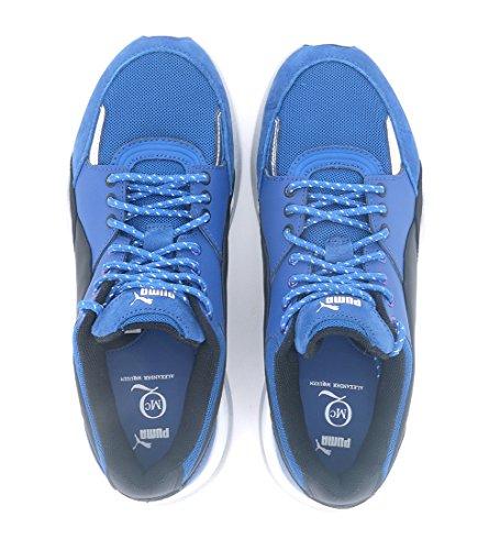Sneakers by Alexander McQueen PUMA Runners in Canvas Blau und Leder Schwarz surf the web-black