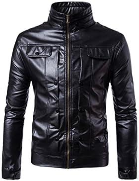 OverDose chaqueta de cuero hombre invierno con cremallera a prueba de viento biker motocicleta outwear abrigo