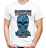 Therapie Skull Volleyball Männer und Herren T-Shirt | Sport Totenkopf ||| (S, Weiß)