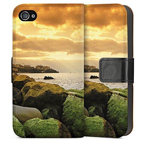 Apple iPhone 4 Housse Étui Silicone Coque Protection Côte Paysage Rocher Sideflip Sac