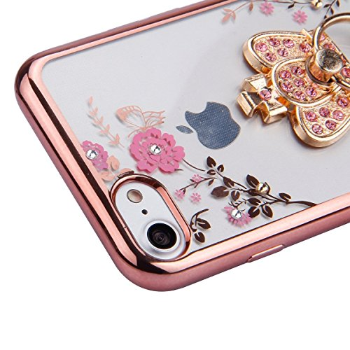 iPhone 6S Hülle,iPhone 6 Hülle,iPhone 6S TPU Case,iPhone 6S Silicone Cover,EMAXELER iPhone 6S /6 4.7 Zoll Hülle TPU Case Schutzhülle Silikon Clear Hülle Case Cover,Farbig Blume Schmetterling Mädchen E A Flower TPU 5