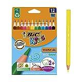 Bic Kids ECOlutions Evolution Buntstifte - Dreikant Farbstifte für Kinder ab 2 Jahren - Ergonomisch - Fördert richtige Handhabung - Bruchsichere Mine - Ohne Holz - Buntstifte Set mit 12 Buntstiften