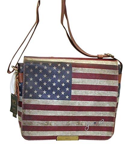 BORSA LAVORO YNOT D339 NEW CARTELLA REPORTER UOMO PORTA PC STAMPA BANDIERA USA FLAG