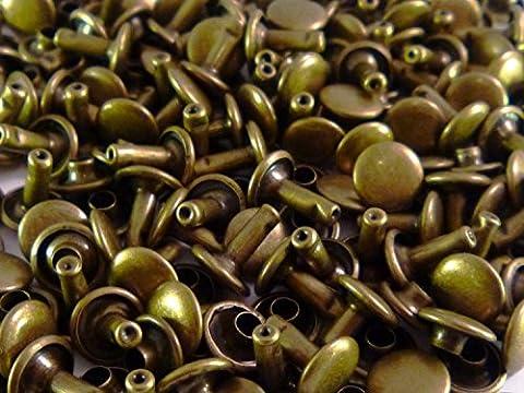 Stahlrohr Double Cap Set 100Stück Nieten Handwerker Schuhe Taschen Tücher Repair Fassung Stollen Leder Kunst und Handwerk von Hochzeit Decor, metall, bronze, 12 mm