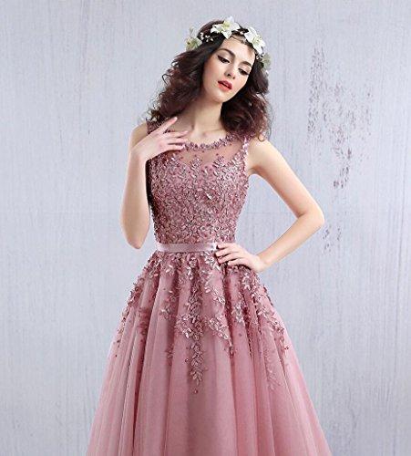 Beauty-Emily Abendkleider Damen Kurz Knielang Elegant Für Hochzeit Spitze Hellblau