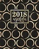 Agenda: 2018 Agenda settimanale italiano : Cerchi dorati shimmer su sfondo nero : 19x23cm: Volume 11