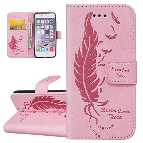 Hülle für iPhone 6S Plus, Tasche für iPhone 6 Plus, Case Cover für iPhone 6 Plus, ISAKEN Feder Blume Muster Folio PU Leder Flip Cover Brieftasche Geldbörse Wallet Case Ledertasche Handyhülle Tasche Ca Feder Traum Pink