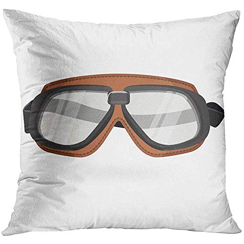 wenyige8216 Black Aviator Brown Aviation Goggles in Vintage Style White Colorful Pilot Glasses Decorative Pillowcases Throw Cushion Covers for Sofa and Couch 45 x 45 cm