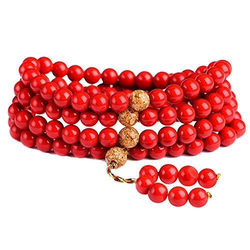 AIYAKT Armband Natürliche Zinnober Gebetskette Tibetisch Buddhistischer Buddha Armband 108er Rosenkranz Halskette Frau rot Glück Armreif Schmuck, Rot, 6mm Perlen