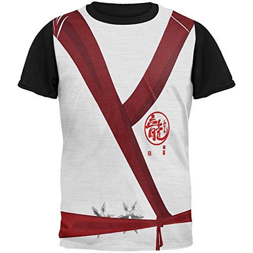 Halloween White Shadow Ninja-Kostüm auf der Ganzen Mens Black Back T Shirt Multi MD