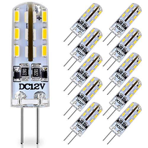 KitaBulb 10er Pack G4 1W LED Lampen, 24 x 3014 SMD, 80 Lumen, Äquivalent 10W Halogenlampen, 12V DC, Warmweiß, 360° Abstrahlwinkel, LED Birnen, LED Leuchtmittel -