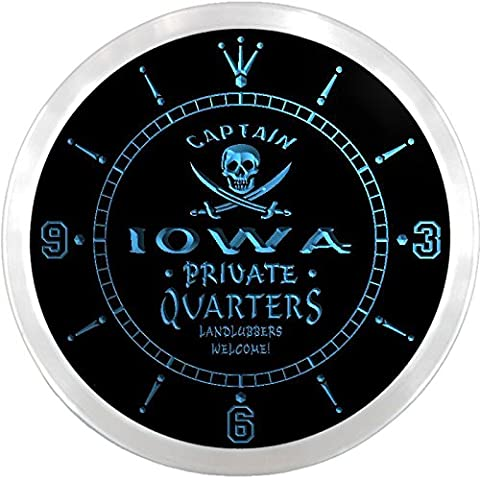 ncpw2015-b IOWA Private Quarters Pirate Man Cave Bar Beer LED Neon Sign Wall Clock